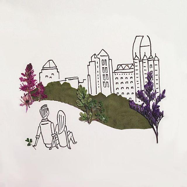 gambar sketsa pulpen yang di gabungkan dengan benda alami yang keren unik dan menarik-16