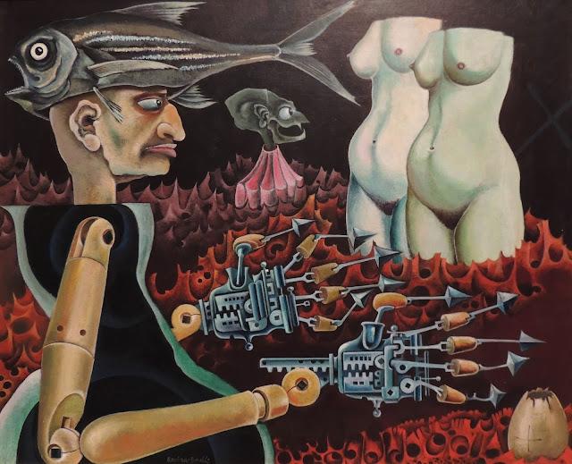 Josep Maria Rovira Brull óleo sobre lienzo manos mecánicas