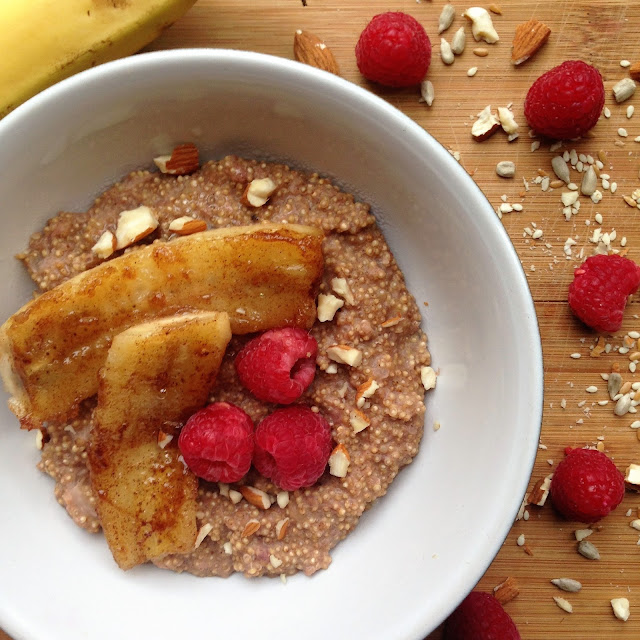 Raspberry-quinoa-porridge-with-caramelised-banana