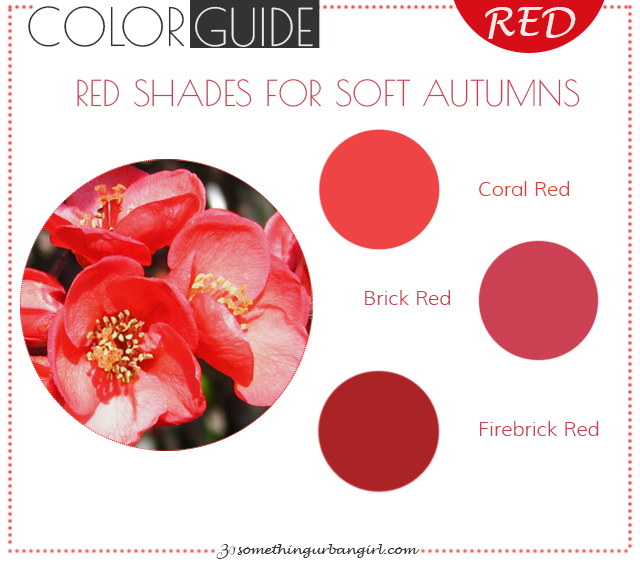 The best red color shades for Soft Autumn seasonal color women