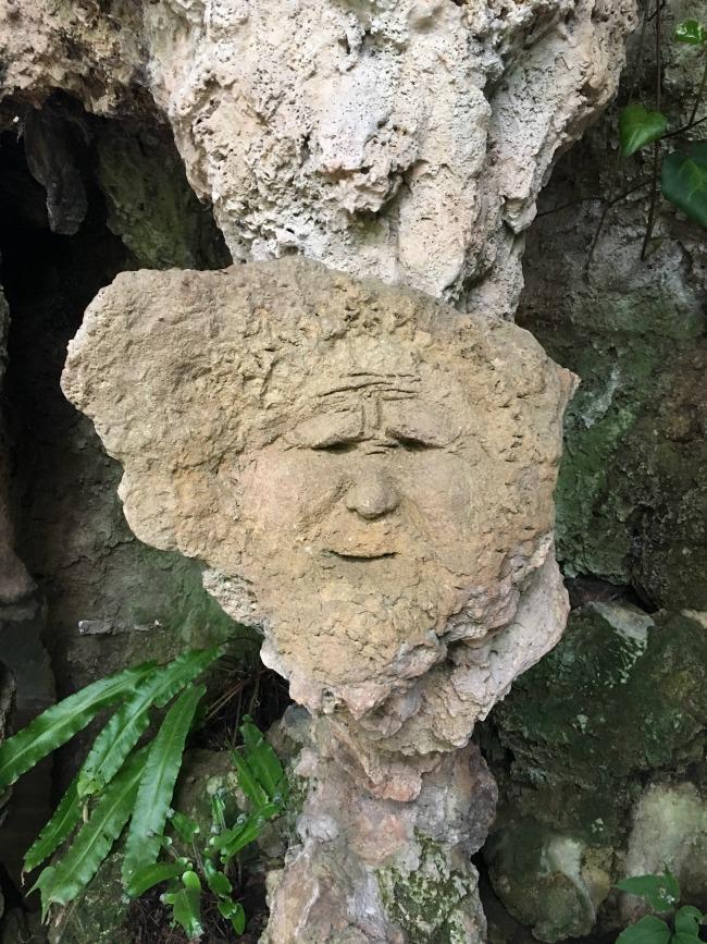 face in artificial rock