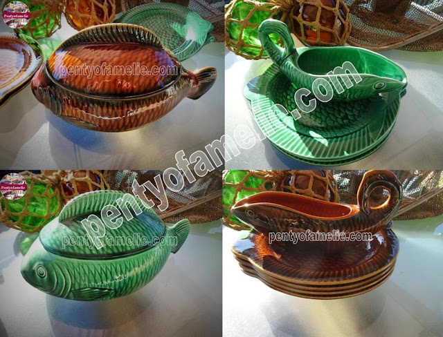 Antique Pottery Sarreguemines.1950s Majolica Fish Gravy Boat and Soup Tureen, coming in Emerald Green, Chestnut Brown colors. Plates also available.
