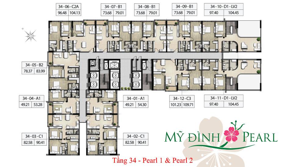 Mặt bằng căn hộ tầng 34