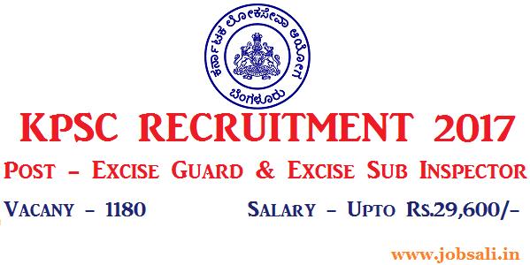 KPSC Excise Sub Inspector vacancy 2017, KPSC Excise Guard Vacancy 2017, KPSC Notification