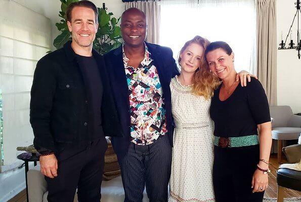 Princess Martha Louise with her boyfriend Shaman Durek Verrett, actor James Van Der Beek and his wife Kimberly Brook
