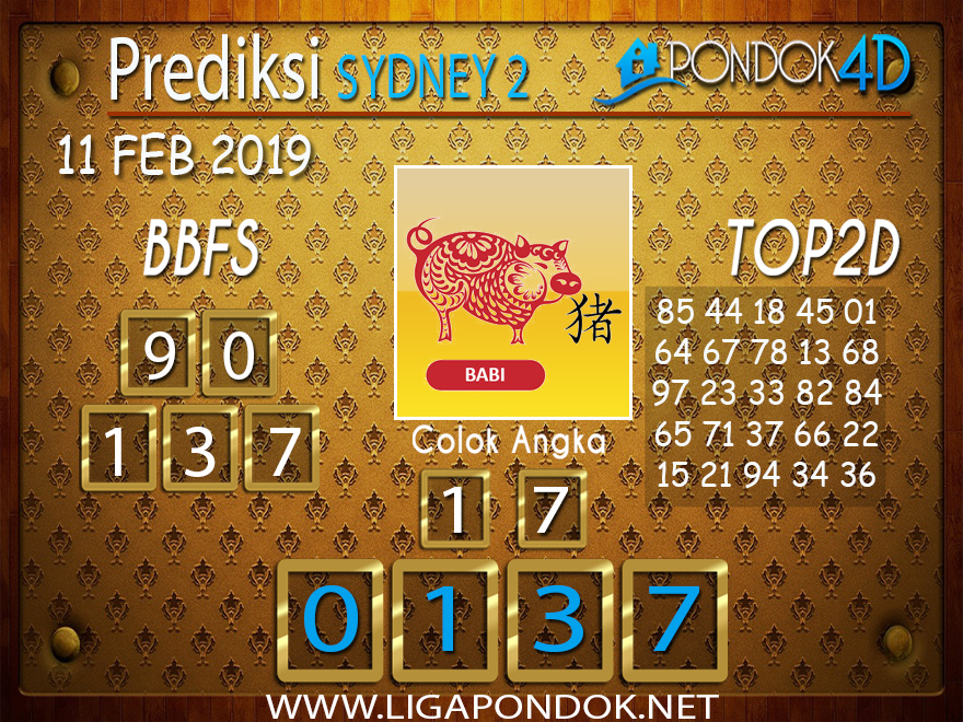 Prediksi Togel SYDNEY2 PONDOK4D 11 FEBRUARI 2019