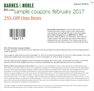 free Barnes and Noble coupons for february 2017
