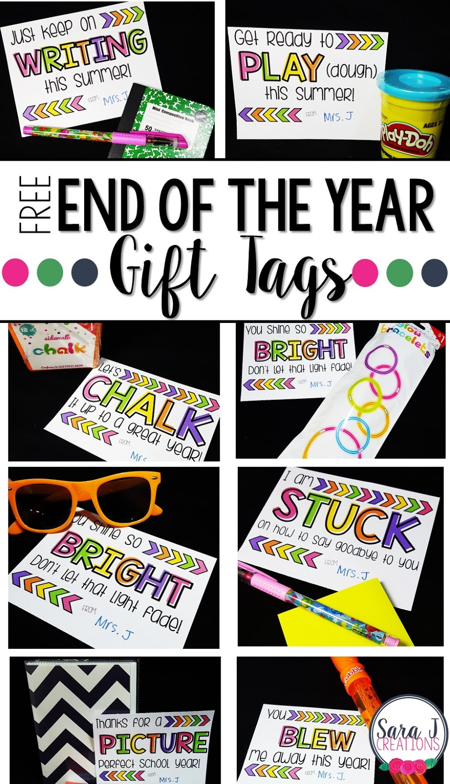 10 FREE Gift Tags for end of the school year student gifts and gift ideas that won't break the bank for the teacher.