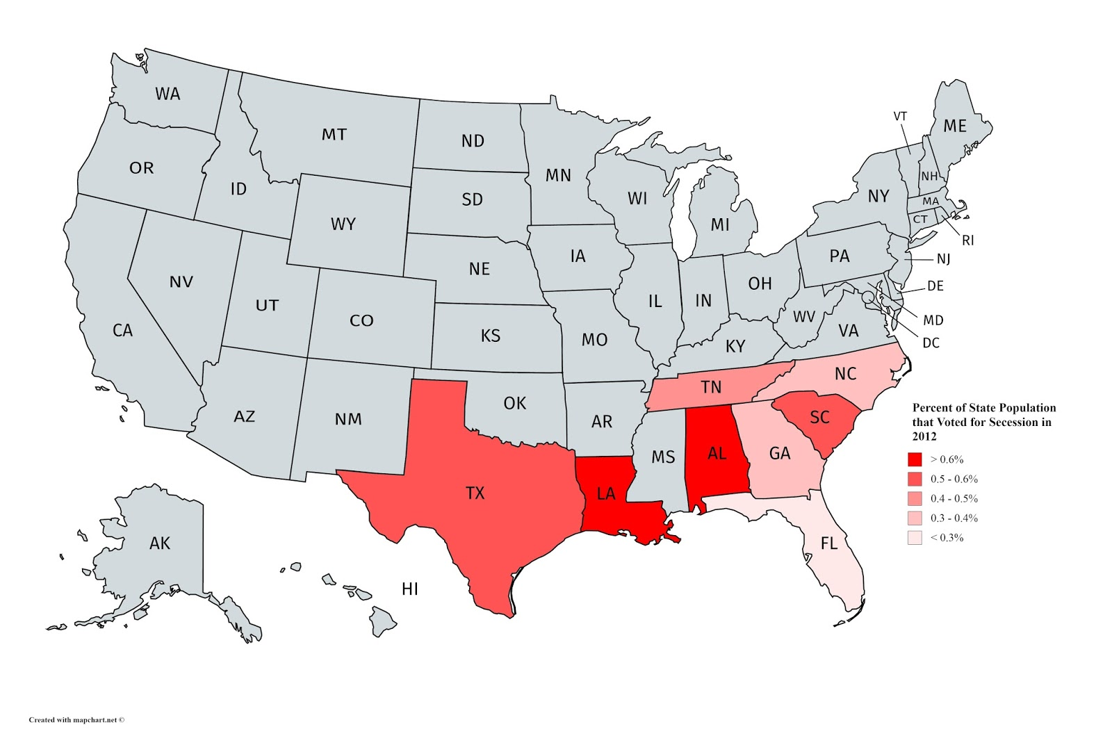 Percent of state population that voted for secession