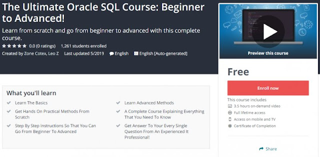 [100% Free] The Ultimate Oracle SQL Course: Beginner to Advanced!