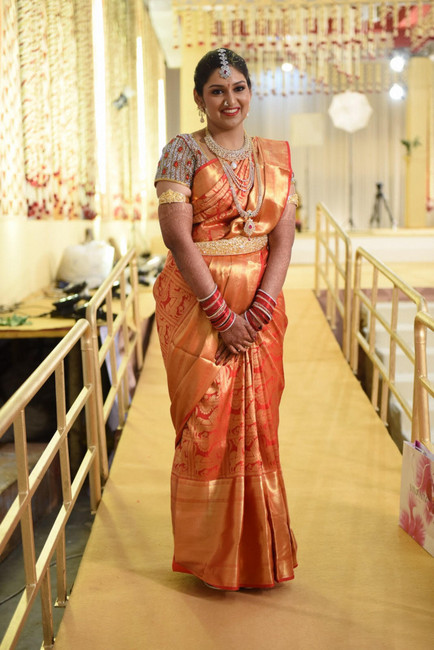 Bride in Big Border Sari