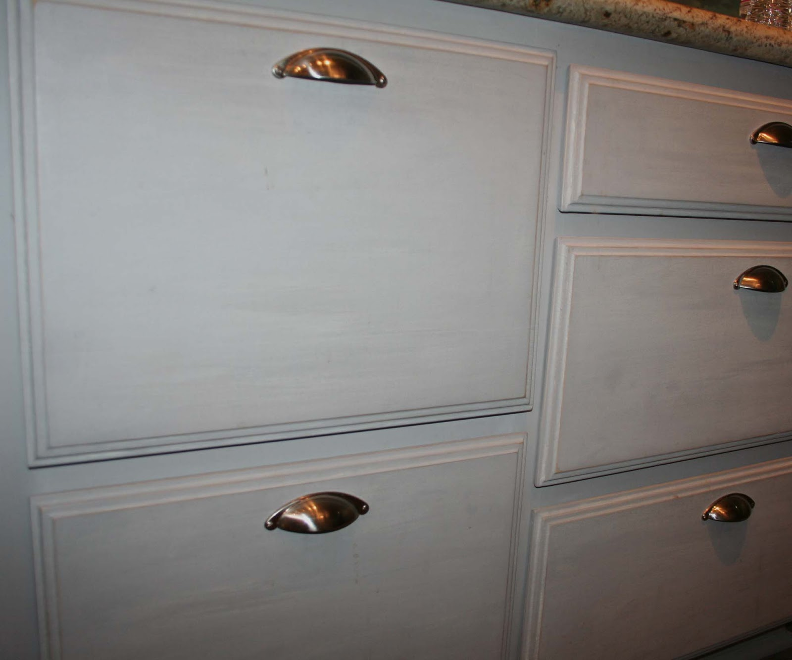 Rhonda J S Shoppes Transformation Tuesday Chalk Paint Paris Grey Kitchen Cabinets With Tinted Wax