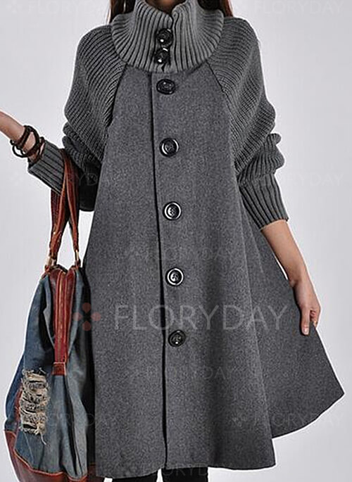 Long Sleeve Other Buttons Duffle Coats