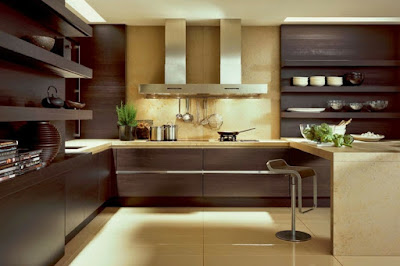 elegant U kitchen plan with integrated shelves