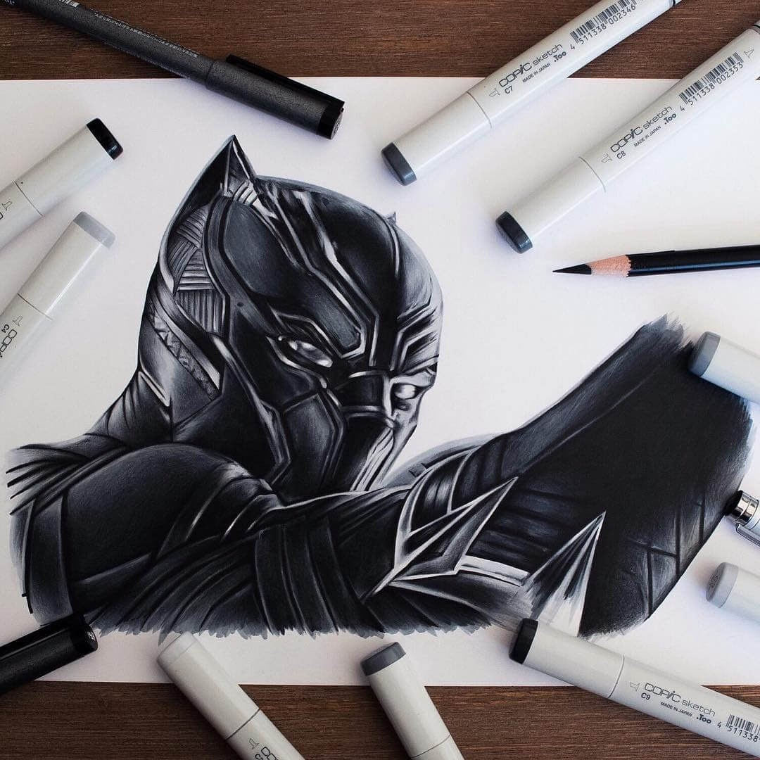 09-Black-Panther-Stephen-Ward-Movie-and-Comics-Superheroes-and-Villains-Drawings-www-designstack-co