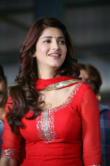 Beautiful Shruti Hasan in Red Salwar Kameez Wallaper 2017