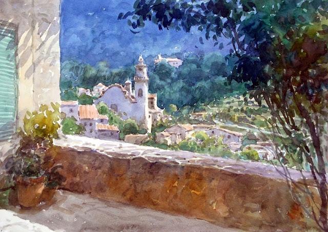 Rafael Pujals Agustí, Pueblo de Valldemosa, Mallorca en Pintura, Mallorca pintada, Paisajes de Mallorca