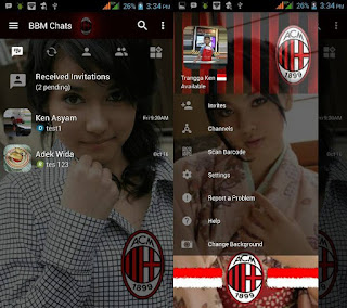 BBM MOD Transparan AC Milan v3.1.0.13 APK with Change Background