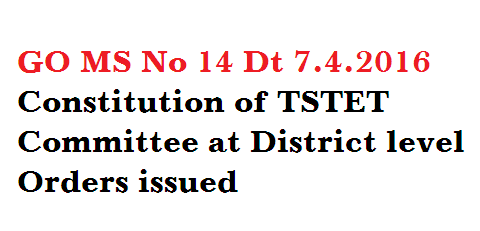 School Education – Telangana State-Teachers Eligibility Test – Constitution of a District level TET Committee for each district for smooth conduct of TET Examination – Orders – Issued.