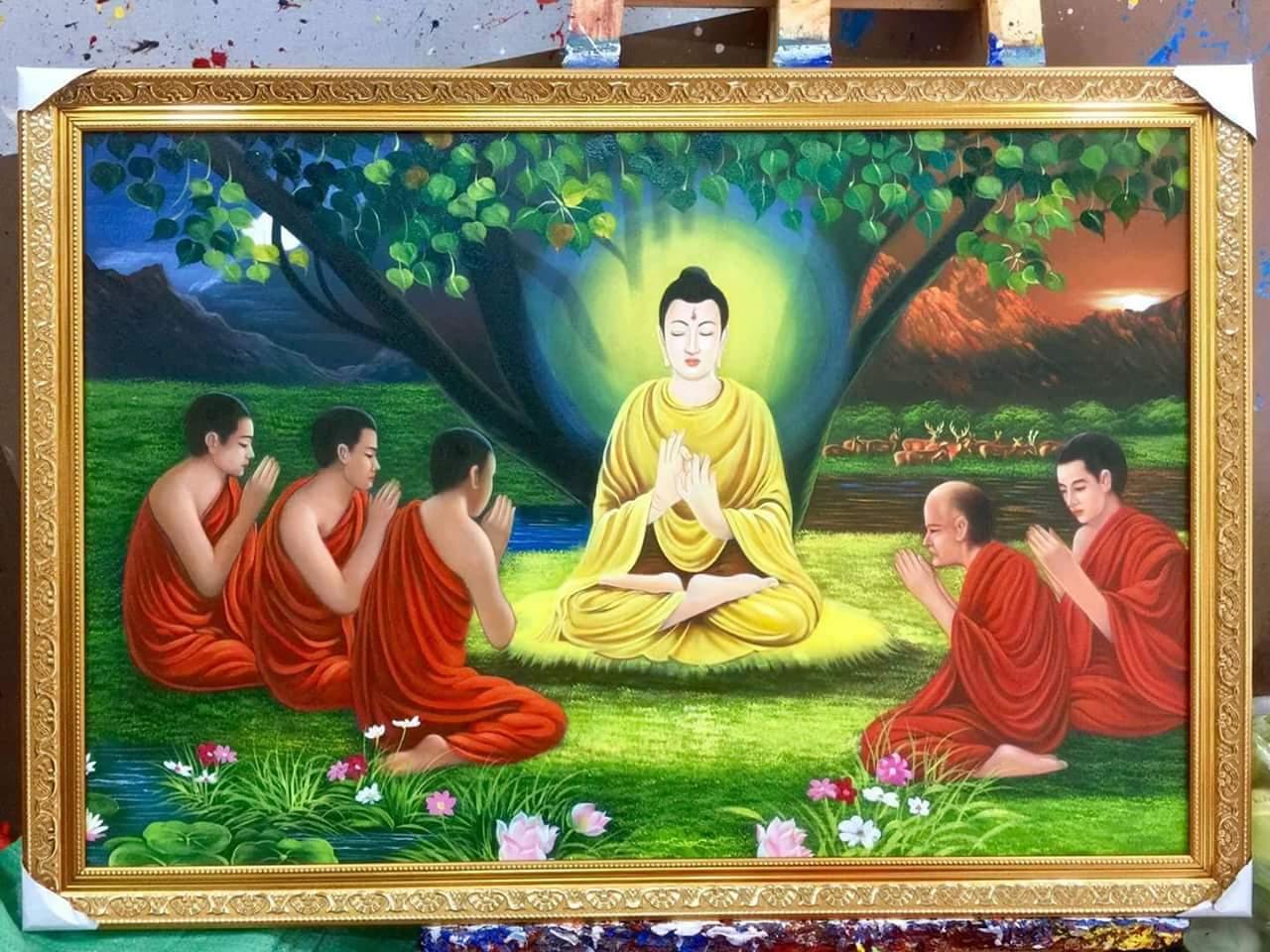 Tranh Đức Phật Thích Ca Mâu Ni thuyết bài kinh Dhammacakkappavattanasutta cho nhóm năm vị Kiều Trần Như