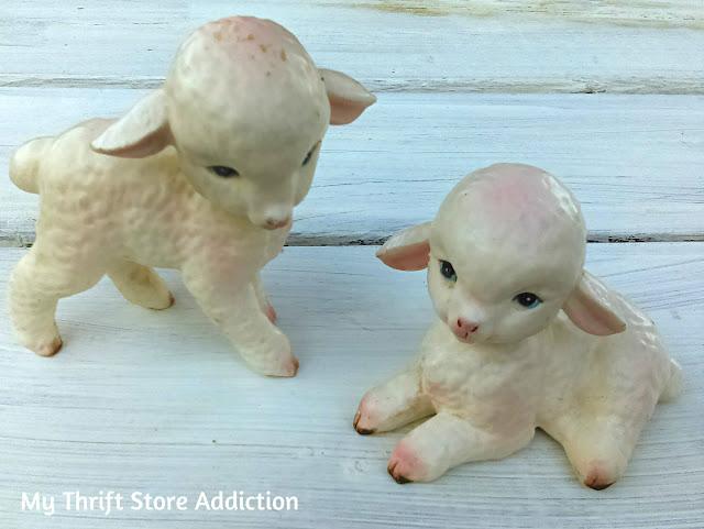 vintage Lefton lamb collectibles