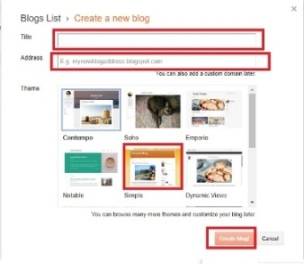 Create a Blog in Blogger