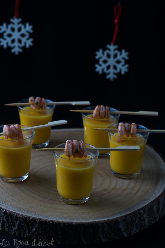 Crema de calabaza con gambas al ajillo #sinlactosa #singluten #recetasana