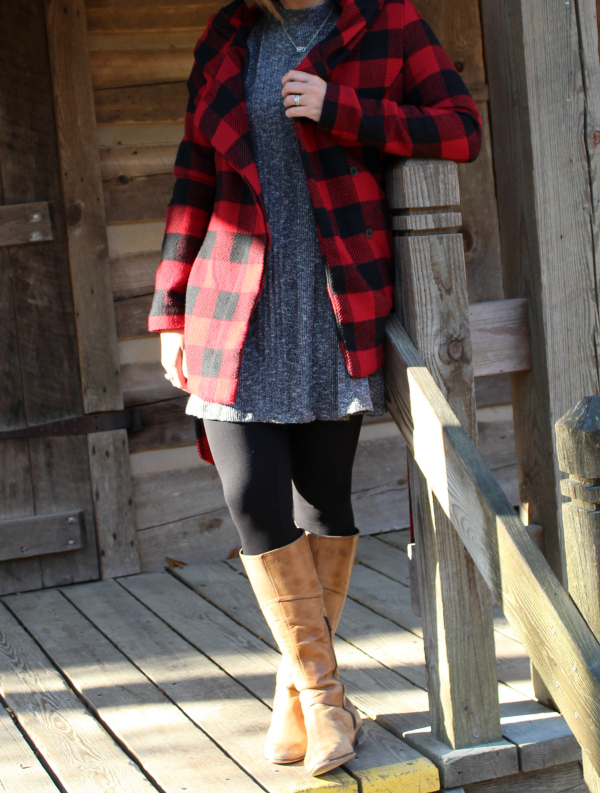 happy birthday, buffalo plaid coat, riding boots