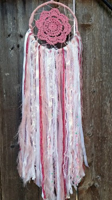 Handmade Pink Shabby Chic Boho Dream Catcher - $35.00 Springtime Bohemian Home Decor {Pastel Bohemian, Springtime Boho Home Decorations, Bohemian Easter}