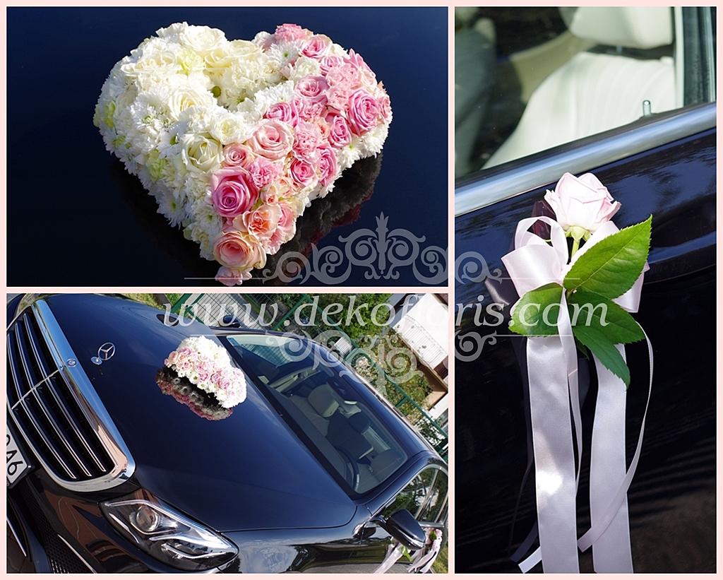 Dekoracja samochodu ślubnego - kwiatowe serce