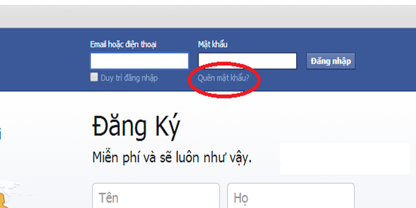 lay lai tai khoan facebook bi mat