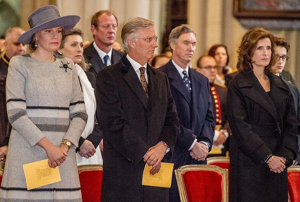 Queen Mathilde, Princess Maria Esmeralda and Princess Lea of Belgium attend the annual celebration of the Eucharist at the Our Lady Church in Laeken
