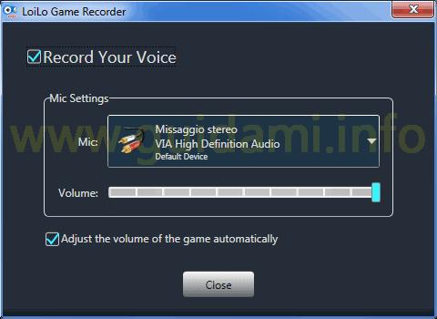 LoiLo Game Recorder registrare voce da microfono