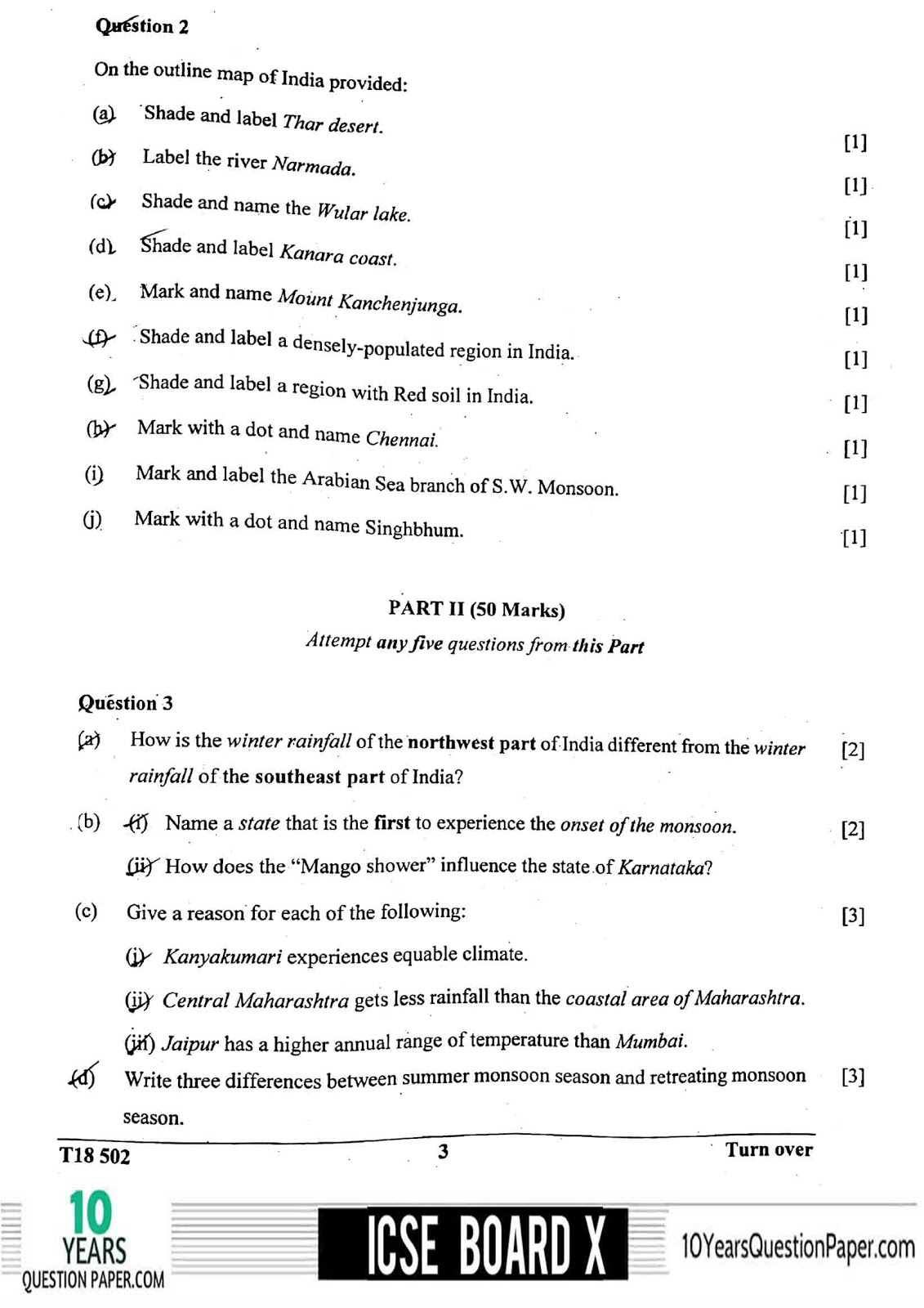 ICSE Board 2018 class 10th Geography question paper page-03