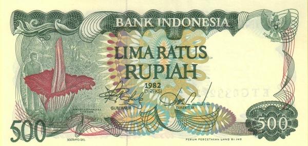 500 rupiah 1980 depan