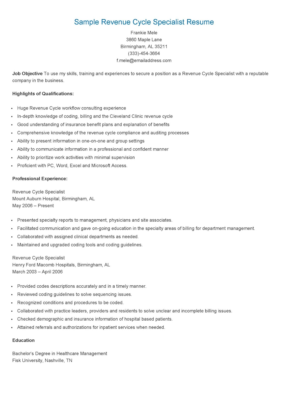 resume samples  sample revenue cycle specialist resume