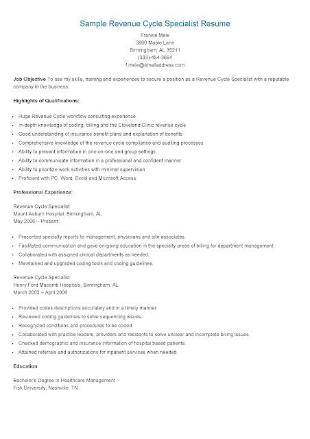 revenue cycle resume samples