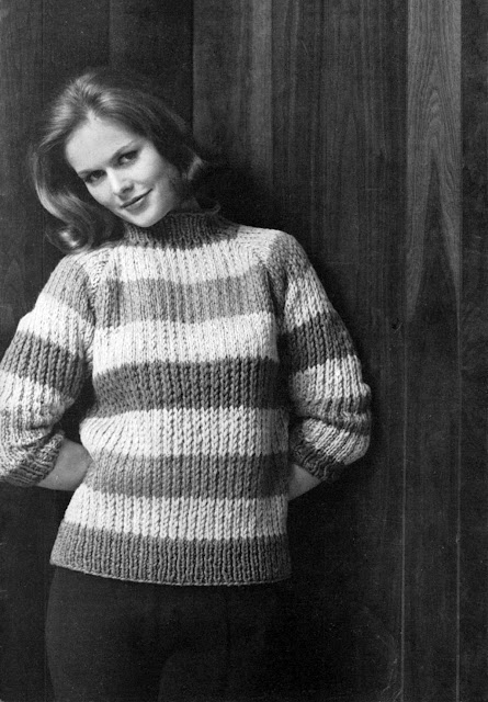 The Vintage Pattern Files: 1960s Free Knitting Pattern - Rah Rah Stripes