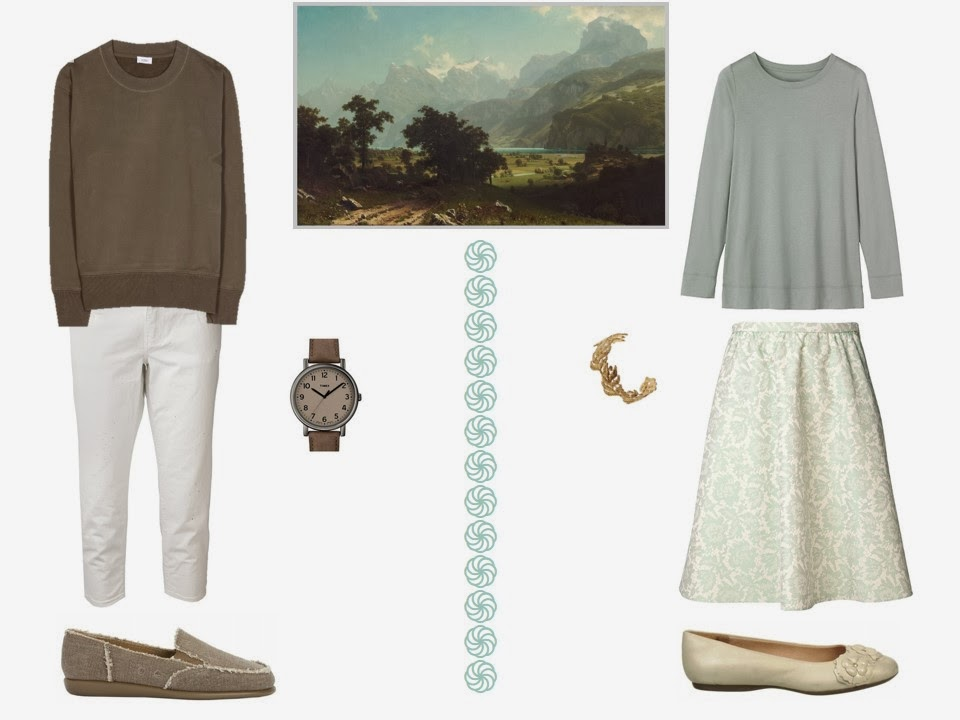 two outfits based on the colors in Lake Lucerne, by Albert Bierstadt