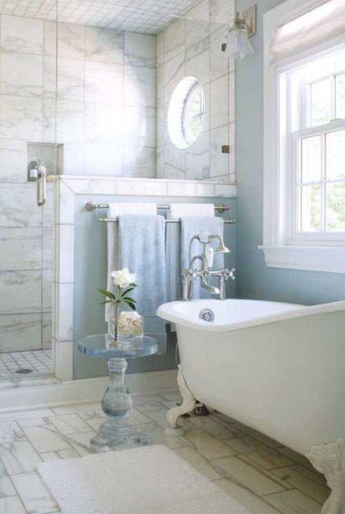 awesome grey, white and light blue bathroom