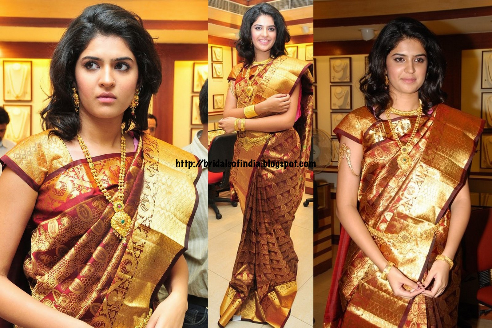ce46f7a6b0ff7c Deeksha Seth Looks traditional in maroon kanchi patty with Heavy gold  bridal bridal saree at RS Brothers. South Indian actress ...
