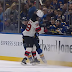 Blues center Robert Thomas accidentally spears helmet off head of Devils RW Nick Merkley