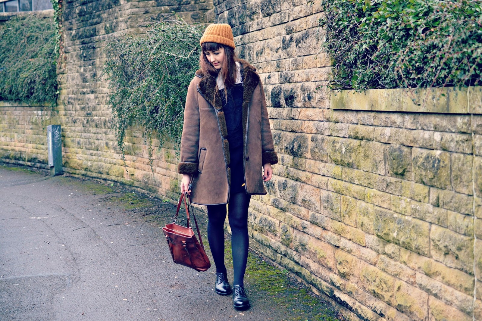vintage sheepskin coat, shearling, vintage, fashion, fashion blogger, ootd