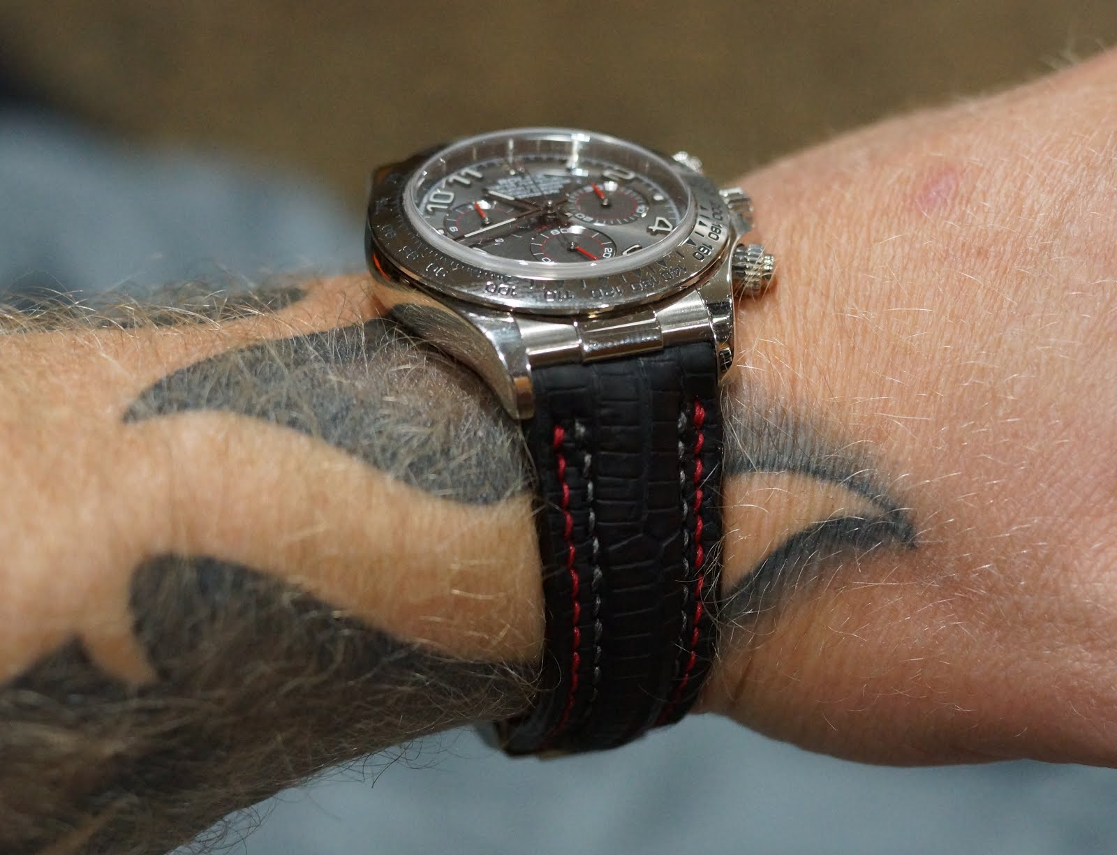 Christopher's Daytona on SuperMatte Teju Lizard with Double Row Stitching