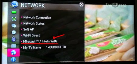 Menu Network pada Smart TV