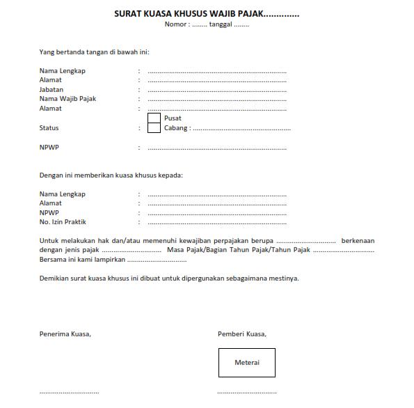 Format Surat Kuasa Khusus Wajib Pajak