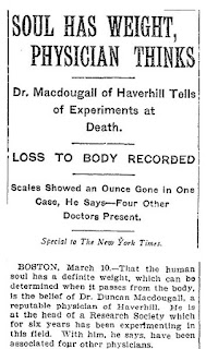 "Scanned section of NYT article. Origin of the ""the soul weighs 21 grams"" claim"