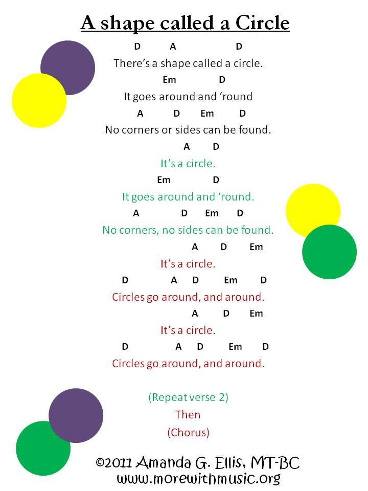 A shape called a Circle song sheet - More with Music