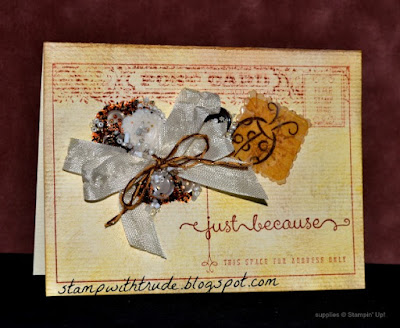 Wednesday 101, Stamping Basics, Trude Thoman, Stampin' Up!, cracked glass technique, antiqued greeting card, postcard