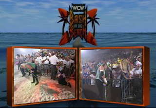 WCW REVIEW - BASH AT THE BEACH 1996 - Public Enemy vs. Nasty Boys terrible split screen